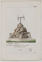 Perrot. Tombstones of famous people burried in Parisian cemeteries. Tomb of Claude Chappe (1763-1805), French engineer, inventor of the telegraph, at the Père-Lachaise cemetery. Paris (XXth arrondissement) 1855-1865. Watercolour and ink. Paris, Bibliothèque Historique de la Ville de Paris. © BHVP / Roger-Viollet