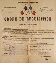 World War II. Order for the requisition of horses and mules. France, on August 27, 1939. © Roger-Viollet
