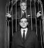 Spectacle de forain de Jean Cocteau. Jean Yanne et l'auteur. Paris, Cabaret de la Tomate, mars 1961. © Studio Lipnitzki / Roger-Viollet