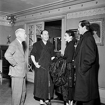 "Audrey Hepburn (1929-1993) and Mel Ferrer (1917-2008) with Pierre Dux and Raymond Rouleau, at a revival of ""Cyrano de Bergerac"" at the Théâtre Sarah Bernhardt. Paris, 1956. © Roger-Viollet"