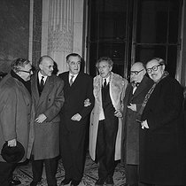 Jean Cocteau surrounded by André Chamson, Jean Paulhan (on the left), Jean Rostand and Jean Guéhenno, January 1963. © Roger-Viollet