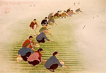 """ Weeding of spring "". Chinese farmer painting. Popular township of Hou - Hsien (Shaanxi). Years 1960-70. © Roger-Viollet"