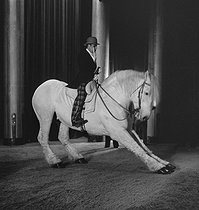 Circus : clown with horse. France, circa 1935. © Gaston Paris / Roger-Viollet