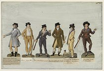 Jean-Baptiste Lesueur (1749-1826). Six men's suits : Suspicious suit, Green tie and hidden hair, Young Muscadin, Sans-culotte smoking a pipe, Muscadin wearing a square redingote, Fancy carmagnole, Sans-culotte dancing the carmagnole. Gouache on cardboard. Paris, musée Carnavalet. © Musée Carnavalet/Roger-Viollet
