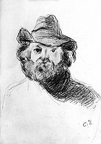 """Camille Pissarro (1830-1903). """"Paul Cézanne (1839-1906), French painter"""". Louvre museum, cabinet of drawings. © Albert Harlingue / Roger-Viollet"""