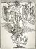 """Albrecht Dürer (1471-1528). """"Christ on the cross with three angels"""" - Bartsch 58. Woodcut, around 1513. Musée des Beaux-Arts de la Ville de Paris, Petit Palais.  © Petit Palais/Roger-Viollet"""