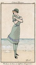 Bathing suit in changing taffetas (1912). Engraving by André Pécoud. © Roger-Viollet
