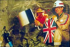 Echange de drapeaux entre la France et le Royaume-Uni lors de la construction du tunnel sous la Manche, 1er décembre 1990. © TopFoto / Roger-Viollet