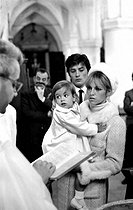 Christening of Anthony Delon, Alain Delon and Nathalie's son, on May 1st, 1966. Photograph by Georges Kelaïditès (1932-2015). © Georges Kelaïditès / Roger-Viollet