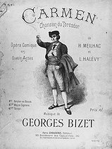 """Cover of a score of """"Carmen"""", opera by Georges Bizet. Paris, Choudens. © Roger-Viollet"""