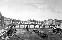 View of the pont des Arts and the Pont-Neuf. Engraving by Dubois after Courvoisier. © Roger-Viollet