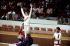 Jeux olympiques d'été de 1976. Nadia Comaneci (née en 1961), gymnaste roumaine, médaillée d'or devant Nellie Kim (argent) et Ludmilla Tourischeva (bronze), gymnastes soviétiques. Montréal (Canada), 7 septembre 1976. © TopFoto/Roger-Viollet