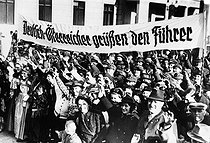 Rally of Austro-German people in Berlin, in favour of the  Anschluss (annexation of Austria by Hitler). On the banner : Austro-German greet the Führer, on February 21, 1938. © Roger-Viollet