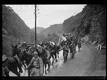 "Spanish civil war (1936-1939). ""La Retirada"". A unit of French machine gunners climbing the road to Le Perthus in order to reinforce the protection at the border. February 2nd, 1939. Photograph from the Excelsior newspaper. © Excelsior - L'Equipe / Roger-Viollet"