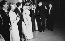 General De Gaulle, Mrs Yvonne de Gaulle and Edmont Michelet greeting Marlene Dietrich (between Maria Schell and Danielle Darrieux). In the foreground : Aldo Ciccolini, Jane Rhodes, Marcel Marceau and Giuletta Massina. Night of the chancellery. Paris, on June 2nd, 1960. © Bernard Lipnitzki / Roger-Viollet