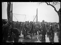 """Spanish Civil War (1936-1939). """"La Retirada"""". Spanish Republican militiamen who could get across the French border being searched by soldiers who came to help the guards. France, February 1939. Photograph from the Excelsior newspaper. © Excelsior - L'Equipe / Roger-Viollet"""