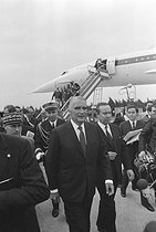 Maiden flight of the Concorde, supersonic passenger airliner. Georges Pompidou (1911-1974), President of the French Republic. Toulouse (France), on October 1st, 1969. © Jacques Cuinières / Roger-Viollet
