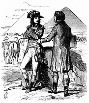 "Campaign of Egypt. Bonaparte (1769-1821) and Gaspard Monge, Count of Péluse (1746-1818), French mathematician, in front of the Pyramids in 1799. Illustration for a popular edition of ""Mémorial de Sainte-Hélène"" by Las Cases. 1860.     © Roger-Viollet"