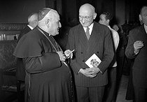 His Grace Giuseppe Roncalli (future Pope John XXIII, 1881-1963) talking to Robert Schuman (1886-1963), French politician, on February 5, 1953. © Roger-Viollet