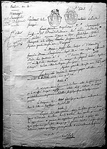 Front page of the mariage certificate of the Emperor Napoleon I of France Joséphine de Beauharnais, on March 9, 1796. Notes by Maître Mahot de Quérantonnais, notary in Paris. © Roger-Viollet