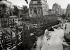 Construction du métropolitain. Etat des travaux place Saint-Michel et rue Danton. Paris (VIème arr.), juillet 1906. © Maurice-Louis Branger / Roger-Viollet
