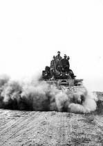 World War II. Russian front. Battle of Stalingrad. German tank of the VIth army of Marshal Paulus just after they crossed the Don in Kalatch, on the way to Stalingrad, late August 1942. © Roger-Viollet