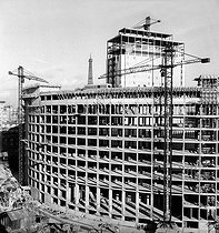 "The ""Maison de la Radio"" under construction. Paris, late 1960.  © Roger-Viollet"