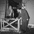 """Jacques Tati (1907-1982), acteur et réalisateur français, et Bruno Coquatrix (1910-1979), directeur de music-hall français, pendant les répétitions de """"Jour de fête"""". Paris, Olympia, avril 1961. © Jean-Régis Roustan / Roger-Viollet"""