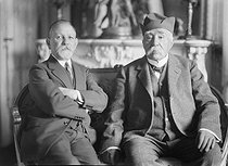 Georges Clemenceau (1841-1929), French politician, and his son Michel, in his house. Saint-Vincent-sur-Jard (Vendée, France), circa 1925-1929.  © Henri Martinie/Roger-Viollet