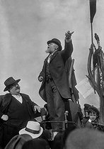 Jean Jaures (1859-1914), French politician, making a speech during the rally against the Three Year Law, in the presence of Pierre Renaudel, on the left, one of the founders of the French socialist party. Le Pré-Saint-Gervais (France), on May 25, 1913. © Maurice-Louis Branger/Roger-Viollet