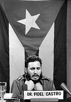 Fidel Castro (1926-2016), Cuban revolutionary and statesman, interviewed by the Cuban television after a visit in U.S.S.R., 1964. © Gilberto Ante / Roger-Viollet