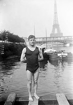 French Swimming Championships. Delbord, French swimmer. Paris, on June 22, 1913. © Maurice-Louis Branger / Roger-Viollet