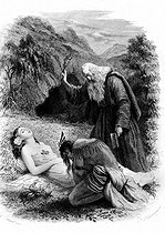 """Illustration for """"Atala"""": the death of Atala by François-René de Chateaubriand. Engraving by F. Delannay. French National Library. © Roger-Viollet"""