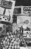 Joan Miro (1893-1983), peintre espagnol, posant devant ses oeuvres. 1959. © Ullstein Bild / Roger-Viollet