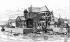 La cathédrale Notre-Dame de Paris et l'évêché au début du XIIIème siècle. Gravure du XIXème siècle. © Roger-Viollet