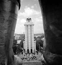 1937 World Fair in Paris. The pavilion of Germany taken from the pavilion of USSR. © Pierre Jahan/Roger-Viollet