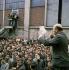 Evènements de mai-juin 1968. Discours d''Henri Krasucki (1924-2003), de la CGT, lors d''un meeting à l''usine Citroën. Paris, mai 1968. Photographie de Georges Azenstarck (né en 1934). © Georges Azenstarck / Roger-Viollet