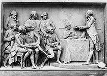 Louis-Ernest Barrias (1841-1905). Monument to Lavoisier, place de la Madeleine in Paris. Monument destroyed by the German army in 1940. Right detail : Lavoisier and Condorcet, on the left. Left detail : Monge, seated in the foreground, Laplace, standing, in the background, with Berthollet. © Jacques Boyer / Roger-Viollet