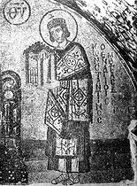 Constantine Ist the Great (between 270 and 288 - 337), Roman emperor. Detail of a mosaic of the Holy - Sophie basilica, Istanbul (Turkey). © Roger-Viollet
