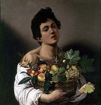 "Michelangelo Merisi da Caravaggio (1571-1610). ""Young man with a fruits basket"". Rome (Italy), Borghèse gallery. © Roger-Viollet"
