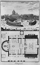 Rome (Italy). Basilica Saint-Peter and plan of an old church with its exedre. Encyclopedia of Diderot, engraving XVIIIth century. © Roger-Viollet