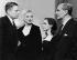 """Laurence Olivier, Marilyn Monroe, Susan Strasberg et Joseph Schildkraut, lors de la 200ème de la pièce """"Le journal d'Anne Frank"""" dans laquelle Susan Strasberg jouait le rôle principal. New York (Etats-Unis), 1956. © Ullstein Bild / Roger-Viollet"""