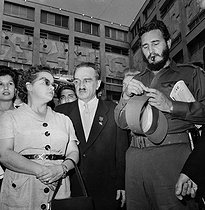 Anastas Mikoyan, first vice-president of the Soviet Cabinet, on visit in Cuba, with Fidel Castro and Almaida Dorticos, wife of President Osvaldo Dorticos Torrado. Cuba, 1960. © Gilberto Ante / Roger-Viollet