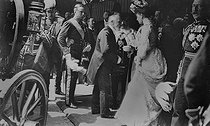 Emile Loubet (1838-1929), President of the French Republic, during an official visit in England, greeted at the entrance of the Guildhall by the Lord Mayor of London, Prince and Princess of Wales (future King George V and Queen Mary of Teck) and the Duke of Connaught. London (England), on July 7, 1903. © Roger-Viollet