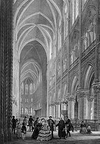 Bachelier and Chapuy. Interior of the Notre-Dame de Paris Cathedral. Decoration for the christening of the Imperial Prince. Engraving. Paris, musée Carnavalet. © Musée Carnavalet / Roger-Viollet