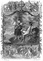 """François-René de Chateaubriand, and the young bargee during a call in Saint-Pierre-et-Miquelon, during his journey in America (1791). Illustration for """"Mémoires d'outre-tombe"""" by François-René de Chateaubriand, Book VI, chapter 5. Engraving by F. Delannoy after R. Demoraine. © Roger-Viollet"""