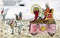 Pilate's chariot. Satirical cartoon about Emile Loubet (1838-1929), French statesman. Humorous postcard by Castor. © Roger-Viollet