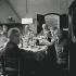Joan Miro (1893-1983), peintre espagnol. De gauche à droite : Josep Parellada, Joan Prats, Aimé Maeght, Violette Artigas. Photographie prise dans la maison de Gallifa, 1968.  © Francesc Catala Roca / Iberfoto / Roger-Viollet