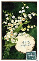 Sprig of lily of the valley. Lucky charm postcard, about 1900. © Roger-Viollet