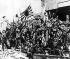Guerre sino-japonaise. Soldats japonais après la prise de la gare nord de Shanghai (Chine).  Novembre 1937. © Ullstein Bild/Roger-Viollet